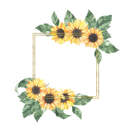 Watercolor summer golden frame with sunflowers bouquet with green leaves isolated. Floral spring autumn geometric frame blossom boho illustration wedding invitation save the date card