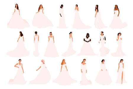 Set of abstract brides in various wedding dress isolated on white background. Different nationalities african american latin european bride fiancee woman vector illustration in cartoon flat style Иллюстрация