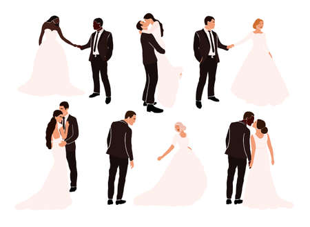 Set of abstract wedding couple grooms and brides in various pose isolated. Multiracial african american european fiancee bridegroom marriage people vector illustration in cartoon flat style