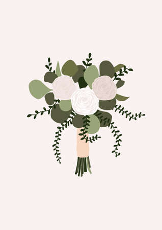 Wedding bouquet with flowers rose eucalyptus green leaves isolated on light background. Boho bridal wedding arrangements vector illustration in cartoon flat style
