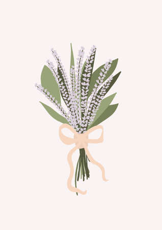 Wedding bouquet with flowers lavender eucalyptus green leaves isolated on light background. Boho bridal wedding arrangements vector illustration in cartoon flat style Иллюстрация