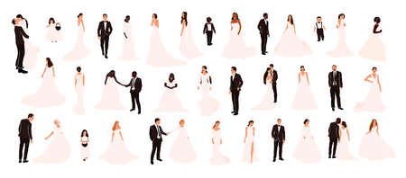 Collection of abstract wedding couple grooms and brides in various pose isolated. Multiracial african american european fiancee bridegroom marriage people vector illustration in cartoon flat style