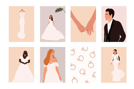 Abstract wedding couple groom and bride, woman portraits, bouquets holiday cards isolated. Fashion minimal trendy people in cartoon flat style. Trendy poster wall print decor vector illustration