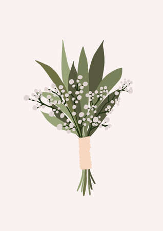 Wedding bouquet with spring flowers green leaves isolated on light background. Boho bridal wedding arrangements vector illustration in cartoon flat style