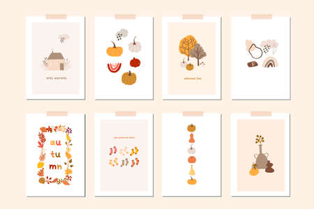 Autumn mood greeting card poster template. Welcome fall season thanksgiving invitation. Minimalist postcard nature leaves, trees, pumpkins, abstract shapes. Vector illustration in flat cartoon style Vector Illustratie