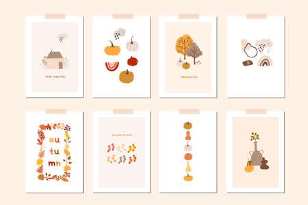 Autumn mood greeting card poster template. Welcome fall season thanksgiving invitation. Minimalist postcard nature leaves, trees, pumpkins, abstract shapes. Vector illustration in flat cartoon style Ilustração Vetorial