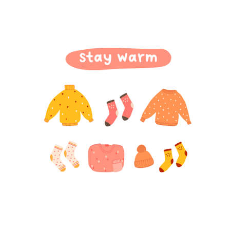 Autumn mood greeting card stay warm with cozy clothes sweater, jumper, hat, socks poster template. Welcome fall season thanksgiving invitation. Vector illustration in flat cartoon style 向量圖像