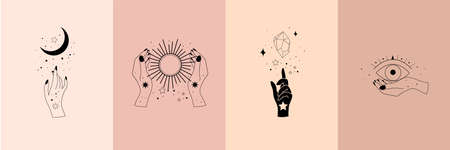 Set of alchemy esoteric mystical magic celestial talisman with woman hands, sun, moon, stars sacred geometry isolated. Spiritual occultism object. Vector illustrations in black outline style Vektorgrafik