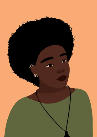 Modern young african american black woman portrait. Fashion minimal trendy female face with dark skin. Trendy minimal poster print. Vector hand drawn illustration