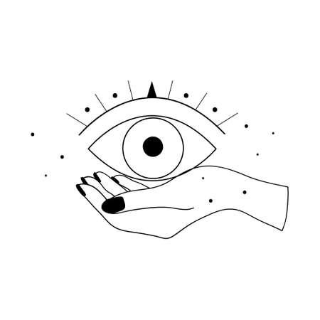 Alchemy esoteric mystical magic celestial talisman with woman hand and evil eye sacred geometry isolated. Spiritual occultism object. Vector illustrations in black outline style