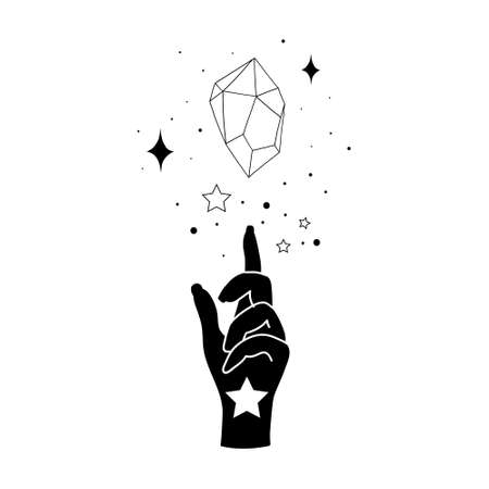 Alchemy esoteric mystical magic celestial talisman with woman hand and crystal sacred geometry isolated. Spiritual occultism object. Vector illustrations in black outline style
