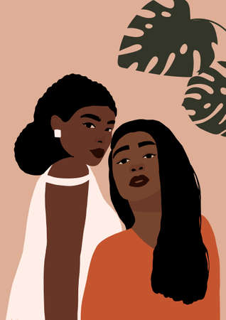 Modern young african american black womans portrait. Fashion minimal trendy female faces with dark skin. Trendy minimal poster print. Vector hand drawn illustration