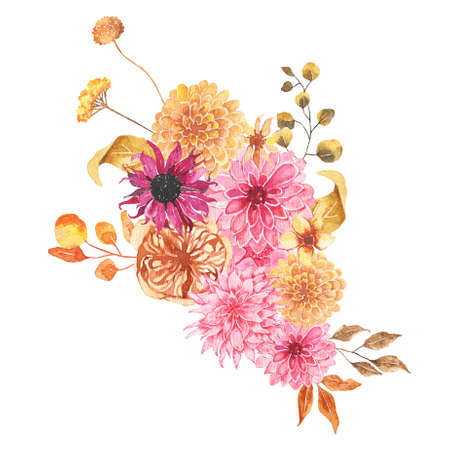Watercolor autumn floral bouquet with flowers roses dahlia peony orange greenery leaves foliage isolated on white background. Floral frame bohemian boho arrangement for wedding invitation
