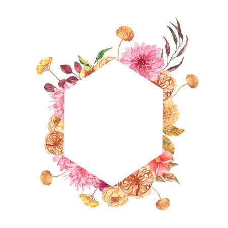 Watercolor autumn floral geometrical frame with roses dahlia peony orange greenery leaves isolated on white background. Fall floral frame bohemian boho wreath for wedding invitation card
