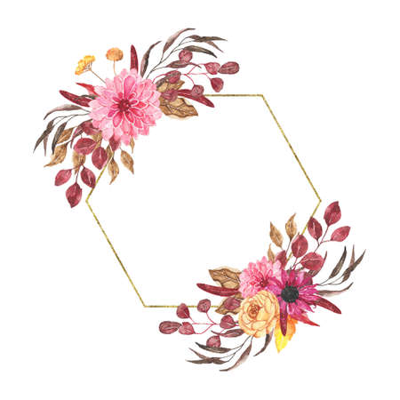Watercolor autumn floral golden geometrical frame with roses dahlia peony orange greenery leaves isolated on white background. Fall floral frame bohemian boho wreath for wedding invitation card