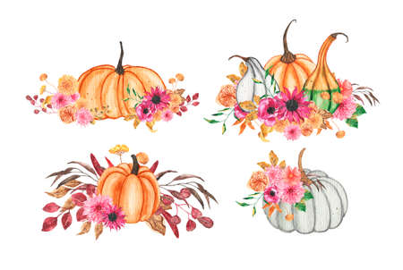 Set of hand drawn watercolor bouquets with pumpkin, flowers and autumn leaves. Floral composition with colorful leaves and flowers. Autumn, fall concept illustration Standard-Bild
