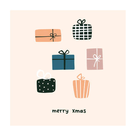 Abstract christmas greeting card with xmas gift boxes. Trendy new year winter holiday poster template. Vector illustration in hand drawn flat style