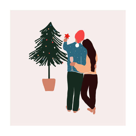 Abstract christmas greeting card with couple guy with girl near xmas tree. Trendy new year winter holiday poster template. Vector illustration in hand drawn flat style