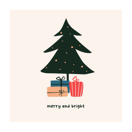 Abstract christmas greeting card with xmas tree and gifts. Trendy new year winter holiday poster template. Vector illustration in hand drawn flat style Illustration
