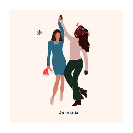 Abstract christmas greeting card with two friends girls dancing. Trendy new year winter holiday poster template. Vector illustration in hand drawn flat style