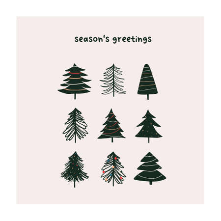 Abstract christmas greeting card with xmas . Trendy new year winter holiday poster template. Vector illustration in hand drawn flat style