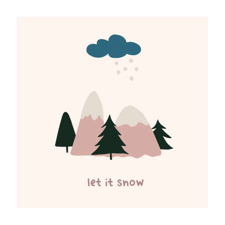 Abstract christmas greeting card with xmas tree, mountains, cloud snow. Trendy new year winter holiday poster template. Vector illustration in hand drawn flat style Illustration