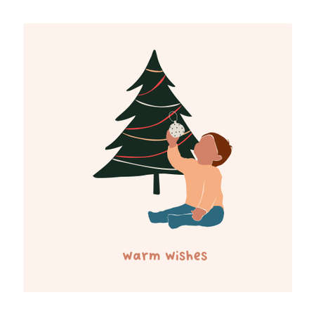 Abstract christmas greeting card with boy kid sitting near xmas tree. Trendy new year winter holiday poster template. Vector illustration in hand drawn flat style