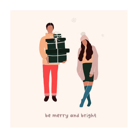 Abstract christmas greeting card with couple guy with gift boxes and girl. Trendy new year winter holiday poster template. Vector illustration in hand drawn flat style