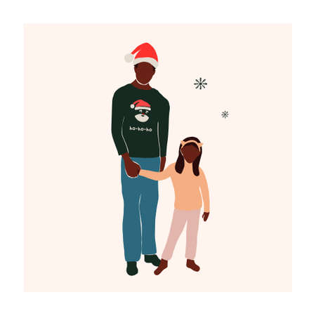 Abstract christmas greeting card with family black african american father and daughter. Trendy new year winter holiday poster template. Vector illustration in hand drawn flat style