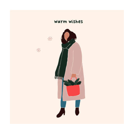 Abstract christmas greeting card with girl in winter clothes. Trendy new year winter holiday poster template. Vector illustration in hand drawn flat style Illustration