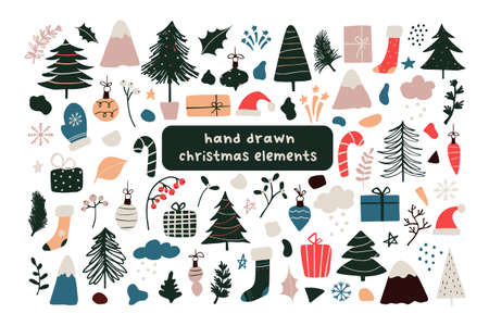 Set of abstract christmas new year winter icons xmas tree, gifts, balls, snowflake, leaves, branch, red berries, santa hat, abstract geometric shapes. Vector illustration hand drawn doodle flat style Illustration