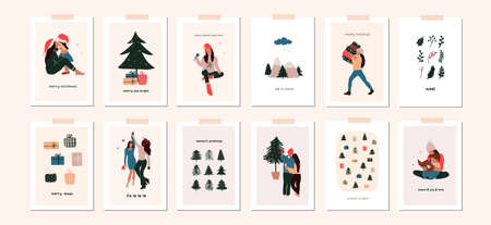 Set of christmas new year winter holiday greeting cards with family kids, xmas decoration. Vector abstract christmas people trendy illustration in hand drawn flat style Illustration