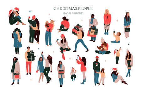 Set of abstract christmas people family parents with kids enjoying Christmas holiday home outdoor winter activity, giving gifts, dancing. Vector illustration in hand drawn cartoon flat style Illustration