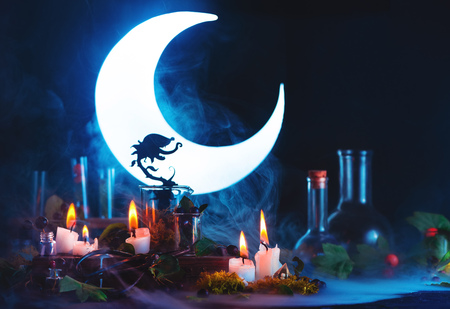 Magical predatory plant silhouette in front of shining crescent. Carnivorous plant still life on a dark background with copy space. Witch or wizard workplace with burning candles.