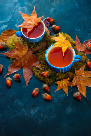 Autumn tea with a blue handmade ceramic cup, acorns and fallen maple leaves. Seasonal drink photography on a wet dark background with copy space. Standard-Bild