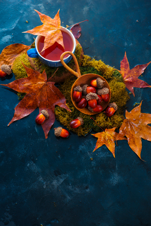 Autumn drink photography with hot tea in a blue ceramic cup, acorns in a wooden scoop and fallen maple leaves on a wet dark background with copy space. Standard-Bild