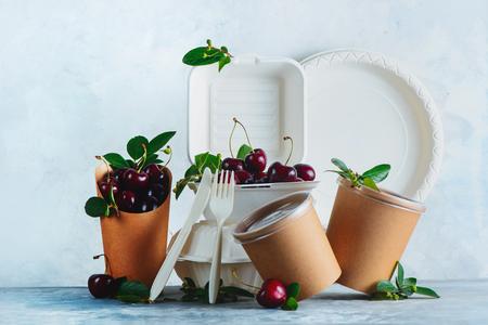 Catering desechables, vasos, platos y envases con cerezas. Envasado de alimentos ecológico sobre un fondo gris neutro con espacio de copia. Conservación de la naturaleza y concepto de reciclaje. Foto de archivo
