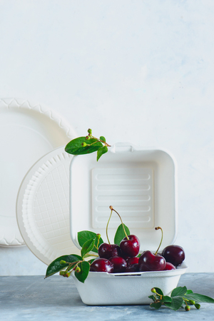 Eco-friendly food packaging with cherries. White containers, plates and other catering disposables on a neutral gray background with copy space. Preserving nature and recycling concept. Standard-Bild