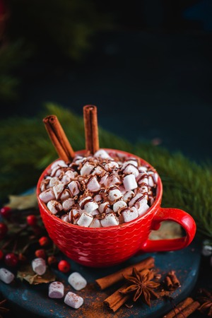 Christmas cocoa header with marshmallows, chocolate crumbs, and syrup. Large coffee cup with homemade hot chocolate. Winter drink photography on a dark background