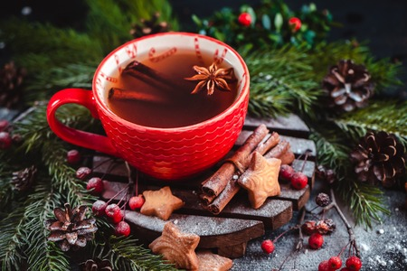 Christmas hot tea with cinnamon, and star-shaped cookies. Large coffee cup with homemade cocoa. Winter baking photography on a dark background