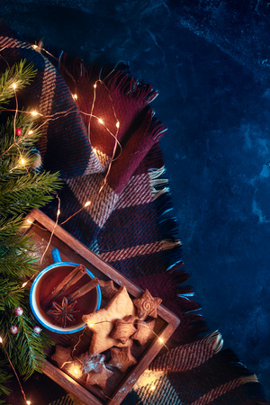 Cookies, tea and fairy lights flat lay with fir tree branches and cozy plaid. Warm winter concept with copy space