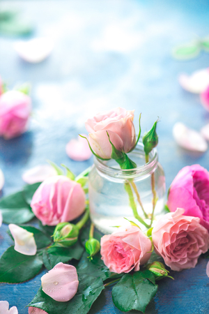Pink roses in tiny glass bottles on a neutral gray background with copy space. A feminine concept with petals and flowers in pastel tones