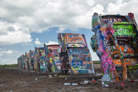Cadillac Ranch. Yellow. Texas. USA. created in 1974 by Chip Lord, Hudson Marquez and Doug Michels
