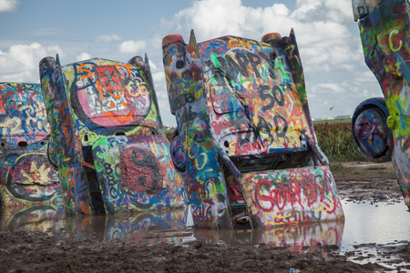 Cadillac Ranch. Yellow. Texas. USA. created in 1974 by Chip Lord, Hudson Marquez and Doug Michels Redakční