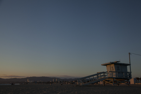 Lifeguard hut on Venice beach at sunset. California. USA Stok Fotoğraf