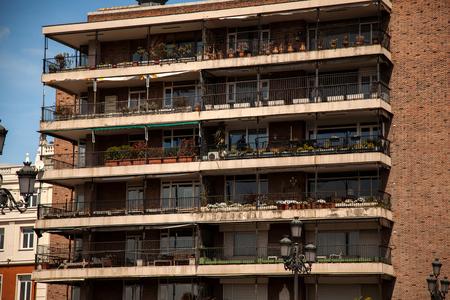 Building on the edge of the bridge of segovia in Madrid