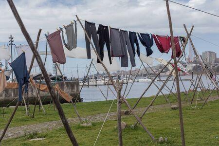 Clotheslines of Vila Nova de Gaia in Porto