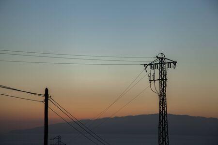 lamp posts at sunset