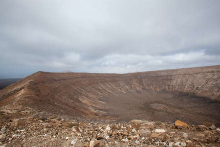 Crater of the Caldera Blanca volcano in Lanzarote