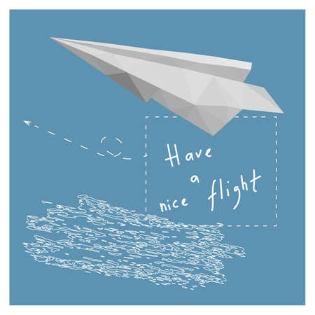 paper plane: Postcard with a paper plane, cloud and text  Have a nice flight. Illustration